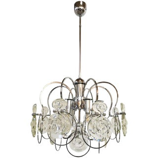 Italian Murano Glass and Chrome Chandelier