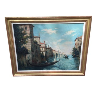 Venice Canal Oil Painting Signed Califano