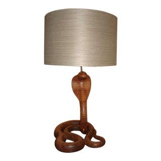Whimsical Carved Wood King Cobra Table Lamp