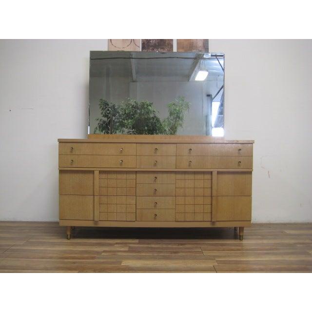 Image of Mid-Century Light Wood Dresser with Mirror