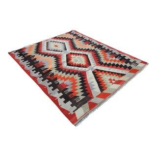 "Vintage Turkish Tribal Oushak Kilim Rug - 4'5"" X 5'5"""