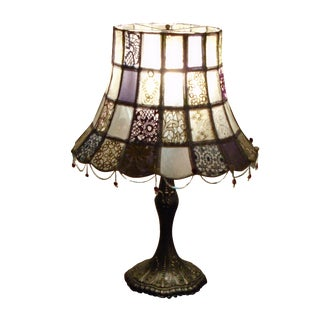 Bronze Tiffany Base Mid-Century Capiz Lamp