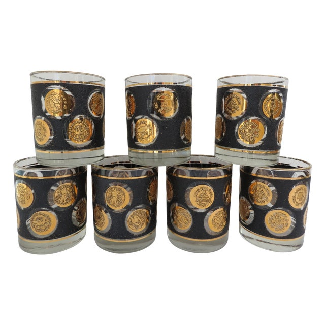 Gold Coin Lowball Glasses - Set of 7 - Image 1 of 6
