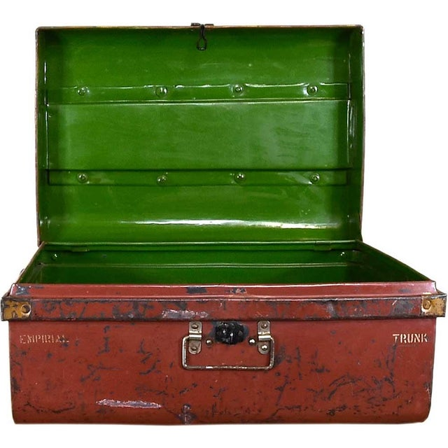 1950s Merlot Red Iron Traveler's Trunk - Image 4 of 5