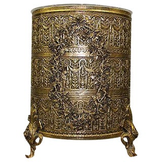 Ornate Rose Motif Wastebasket