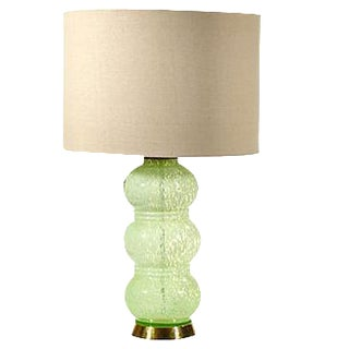 Vintage French Green Glass Table Lamp