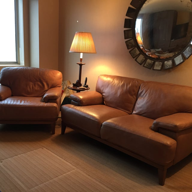 Designer Leather Couch - Image 5 of 5