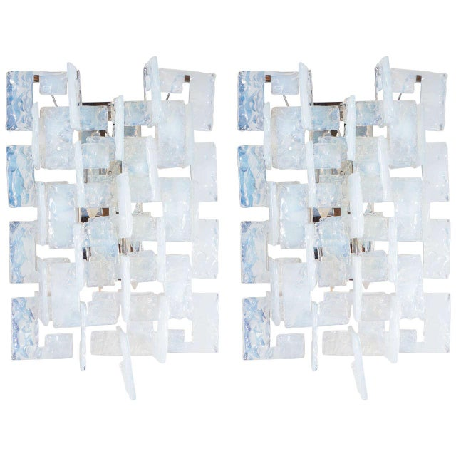 Mid-Century Modernist Iridescent Interlocking Sconces By Mazzega - Image 7 of 7