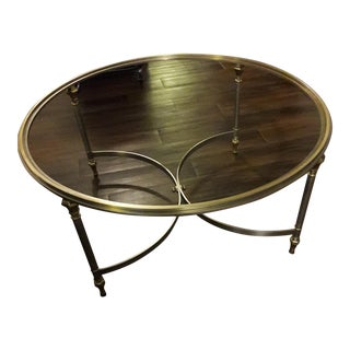Vintage Ethan Allen Steel Brass & Glass Coffee Table