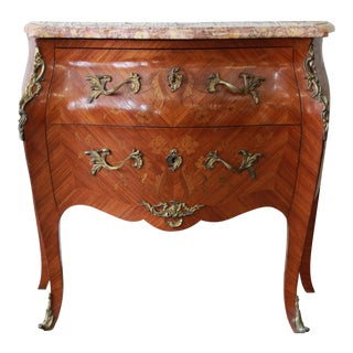 French Marble Top Inlaid Bombay Chest w/ Mounted Bronze Ormolu
