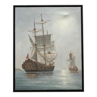 Vintage Burning Ship Armada Painting