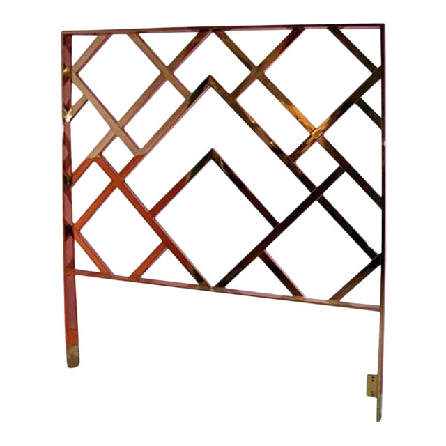 Vintage Milo Baughman Chinese Chippendale Brass King Headboard - Image 4 of 4