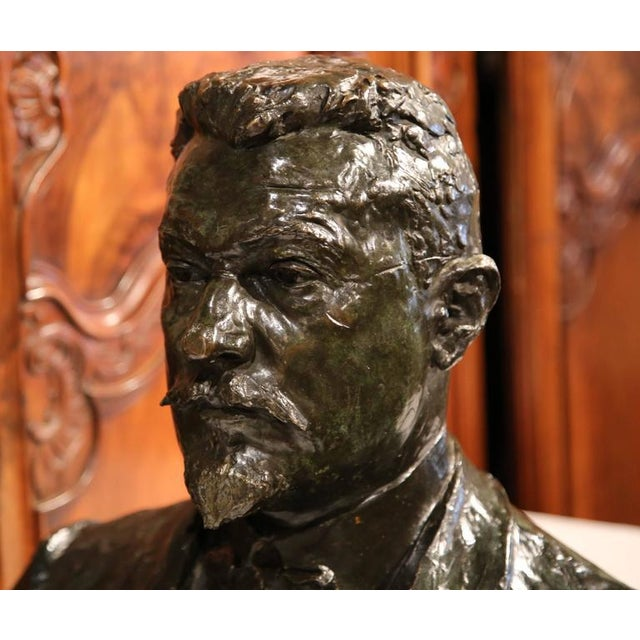 """Large 20th Century French Bronze Bust Signed """"A. Descatoire"""", 1913 - Image 3 of 8"""