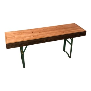 Green Legged Wood Hallway Bench