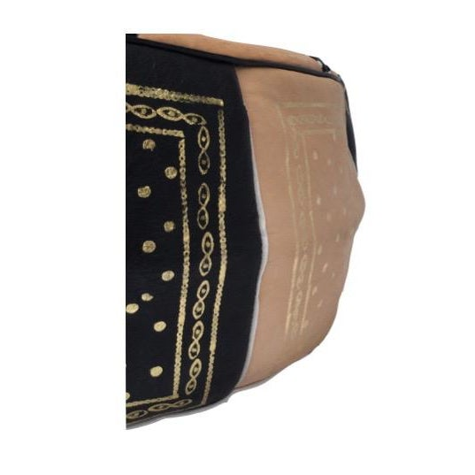 Moroccan Black & Tan Hand Stitched Pouf - Image 2 of 4
