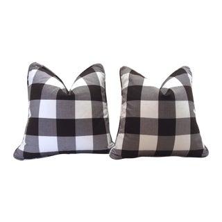 Dark Brown & White Pillows - A Pair