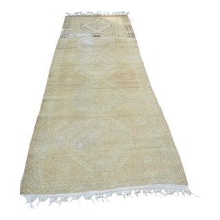 Beige Antique Oushak Runner Carpet