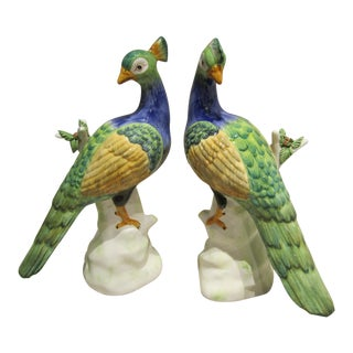 Italian Handmade Ceramic Peacocks - A Pair