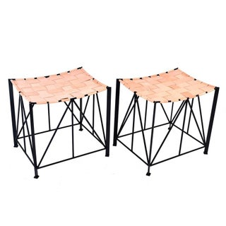 Iron and Woven Leather Benches - A Pair