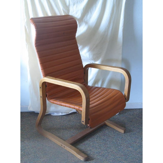 Image of Thonet Oak Laminated High Back Lounge Chair