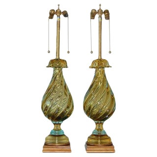Marbro Stately Pair of Murano Lamps