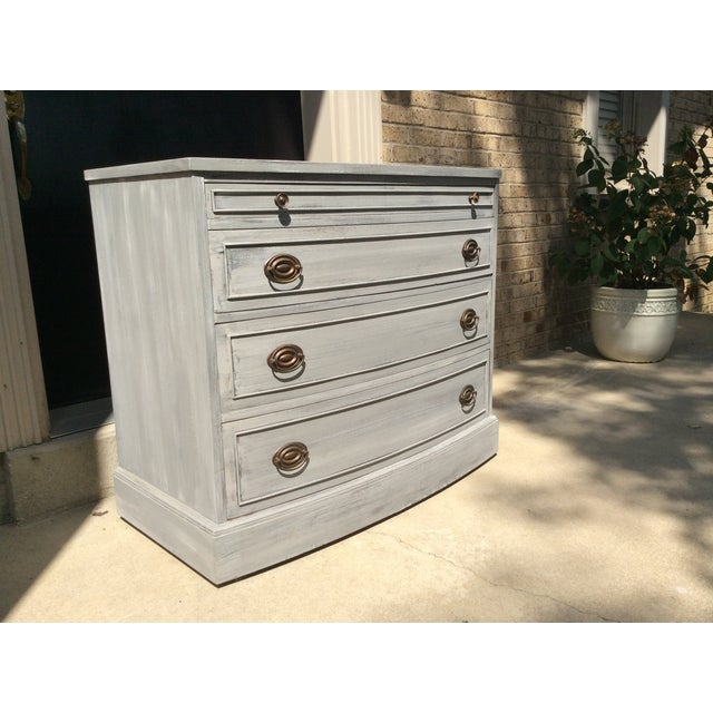 Distressed Grey Bowfront Federal Style Chest - Image 3 of 9