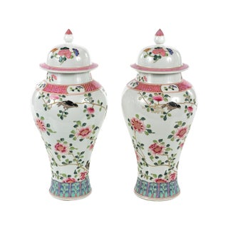Antique Chinese White & Pink Flowers Lidded Porcelain Vases - A Pair