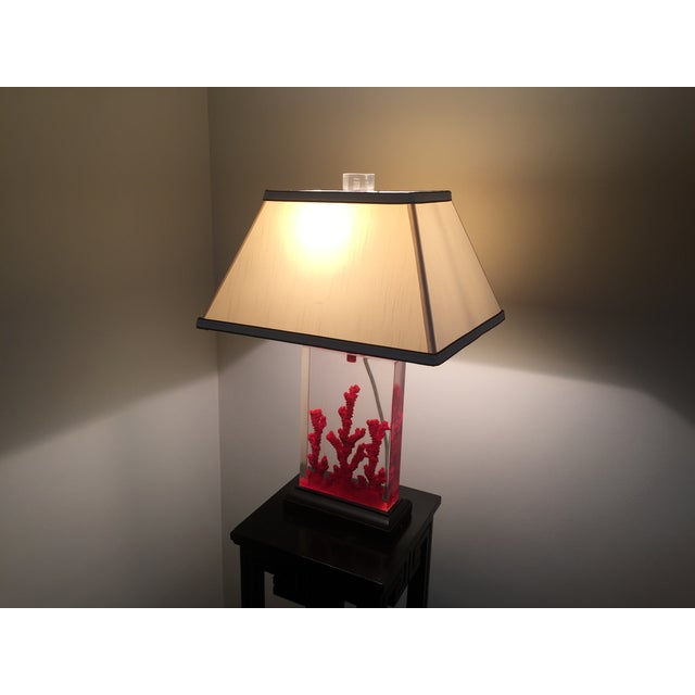 Image of Lucite Red Coral Lamp