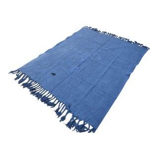 Vintage Turkish Blue Hemp Rug - 5′10″ × 6′8″