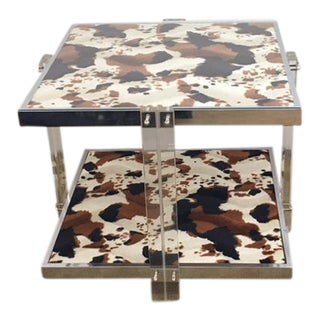 Mid-Century Modern Lucite Chrome & Cowhide Side Table