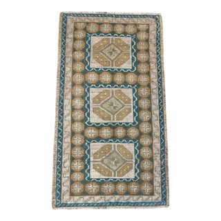 "Vintage Turkish Anatolian Green & Beige Wool Rug - 2' X 3'7"""
