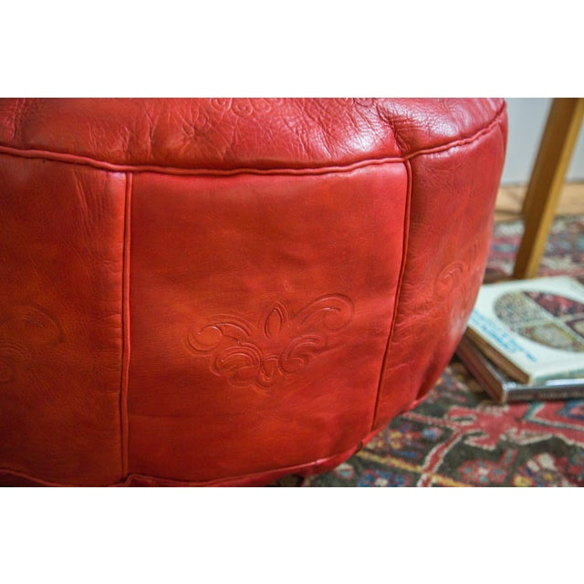 Antique Revival Cranberry Red Leather Pouf Ottoman - Image 5 of 8