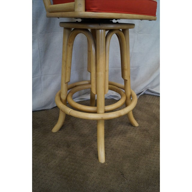 Vintage Bent Bamboo & Rattan Swivel Bar Stools -- Set of 3 - Image 7 of 10