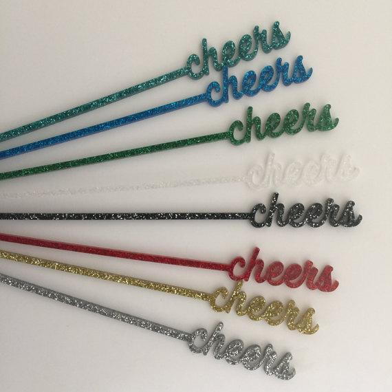 Green Glitter Cheers Drink Stirrers - Set of 6 - Image 3 of 6