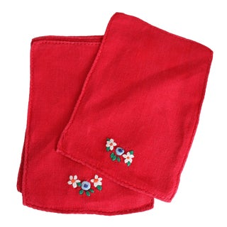 Red Linen Embroidered Cocktail Napkins - 4