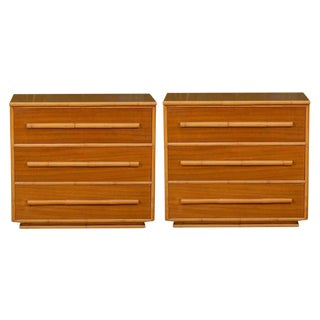 A Wonderful Pair of Mahogany and Bamboo Chests in the Style of Paul Frankl