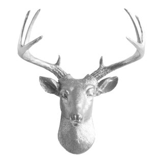 Wall Charmers Silver Faux Deer Bust
