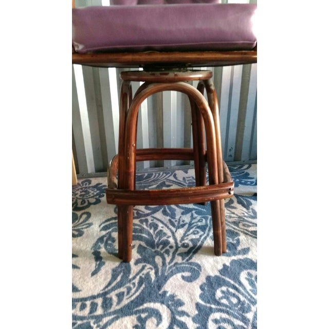 Vintage Purple Vinyl & Bamboo Bar Stools - A Pair - Image 5 of 5