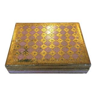 Vintage Florentine Pink & Gold Hinged Box