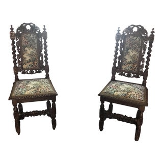 Antique French Embroidered Armchairs - A Pair