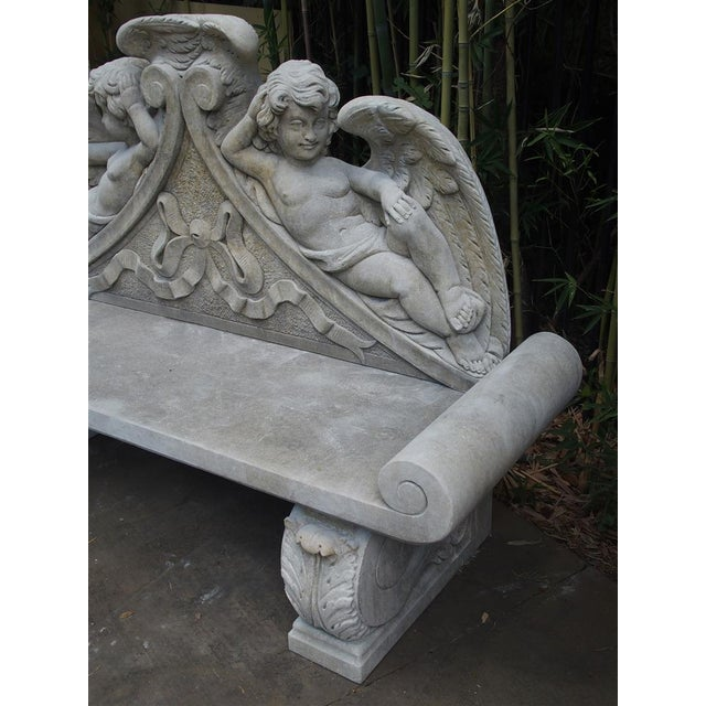 Winged Cherubs Carved Limestone Garden Bench from Italy - Image 4 of 11
