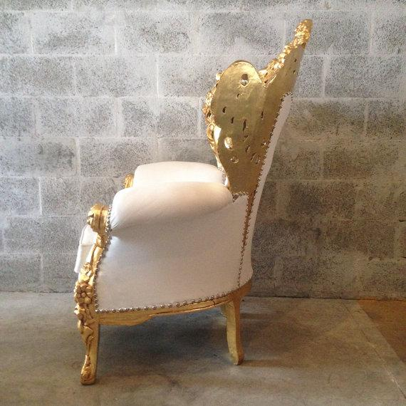 Gold and White Rococo Armchair - Image 4 of 6