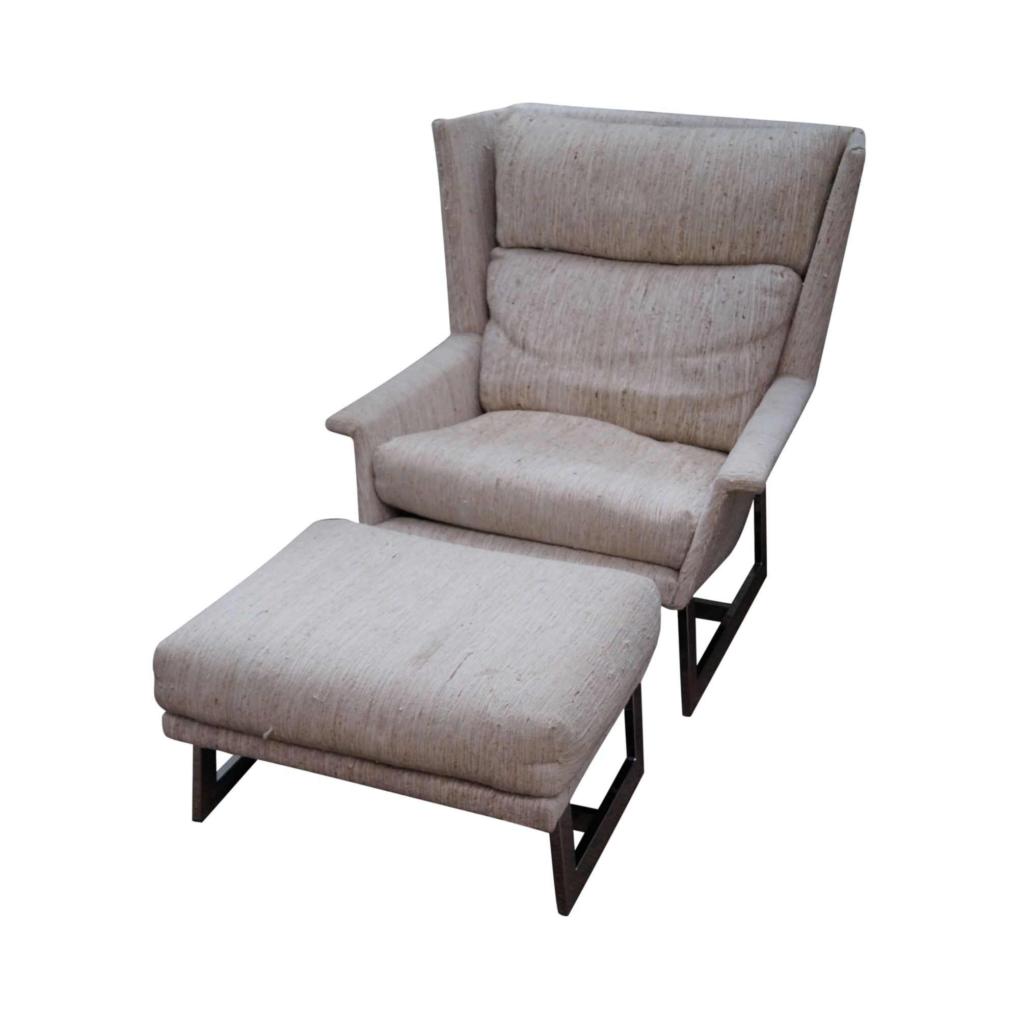 Mid Century Modern Wing Lounge Chair with Ottoman