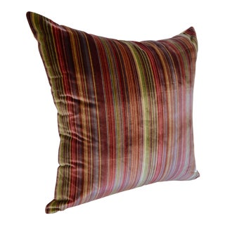 Scalamandré 100% Silk Velvet Rainbow Stripe Pillow