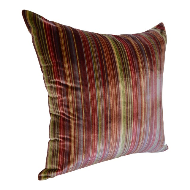 Scalamandré 100% Silk Velvet Rainbow Stripe Pillow - Image 1 of 10