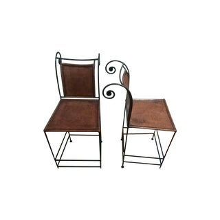 Leather and Iron Bar Stools - A Pair