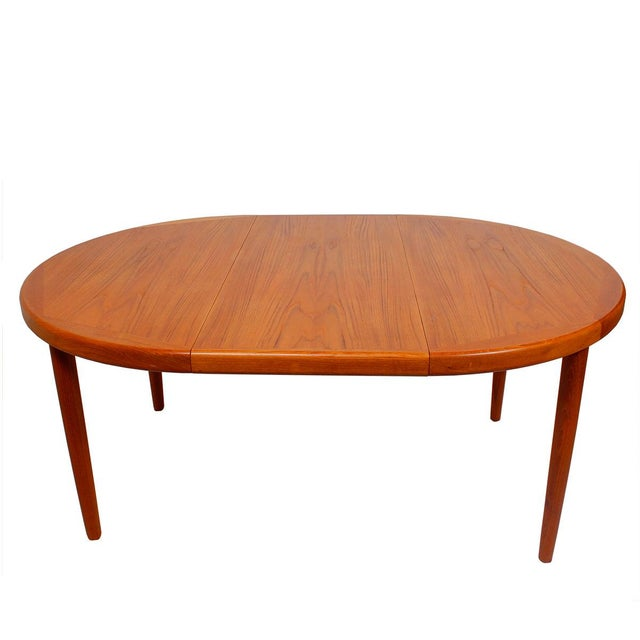 Danish teak round oval dining table pads chairish - Round table pads for dining room tables ...