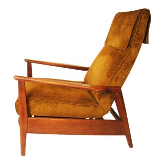 Danish Modern Green Upholstered Recliner Chair
