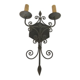 Large Two Light Wrought Iron Sconce
