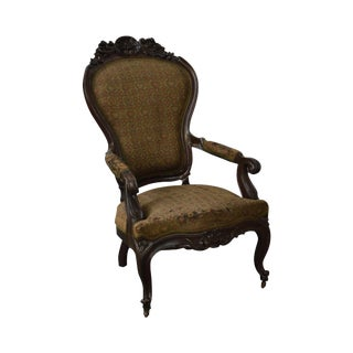 Antique Victorian Revival Carved Walnut Gentlemans Arm Chair